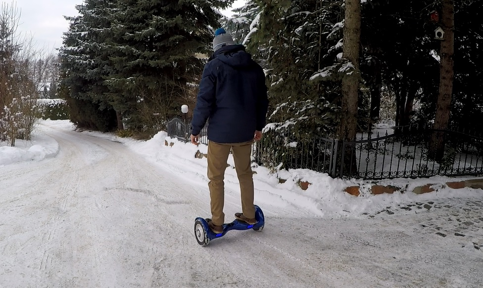 Driving blue Hoverboard